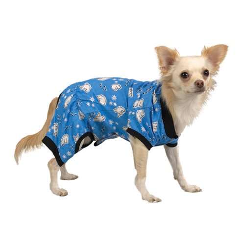 Bear Dog Costume Polar (Casual Canine 10-Inch Blue Polar Bear Cotton Cozy Dog Pajama,)