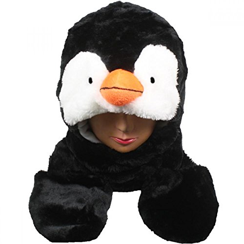 Penguin_(US Seller)Plush animal hats with mittens Cap Earmuff Long