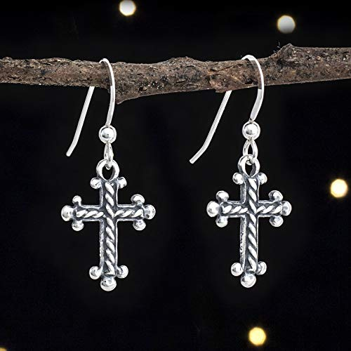 (Sterling Silver Cross Earrings - Small, Double Sided - Solid .925 Sterling Silver, Ready to)