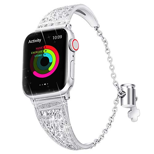 Ezanmull Bling Metal Bands Compatible with Apple Watch Band 38mm 40mm 42mm 44mm iwatch Series 4/3/2/1, Cute Dressy Jewelry Diamond Cuff Bracelet Bangle Wristband Women (Silver, 42mm/44mm)