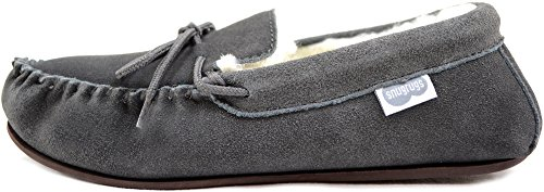 Snugrugs Herren Lambswool Suede with Rubber Sole Hausschuhe Grau (Dunkelgrau)