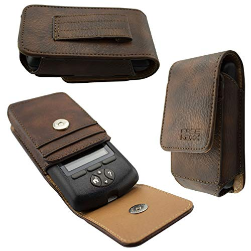 caseroxx Leather Bag with Belt Loop for Omnipod PDM, Case (Leather Bag with Belt Loop in Brown)
