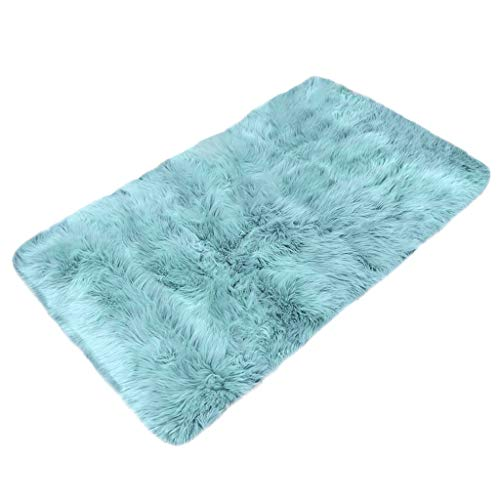 JonerytimeWool Imitation Sheepskin Rugs Faux Fur Non Slip Bedroom Shaggy Carpet Mats (Light Blue) from Jonerytime_ Home & Garden