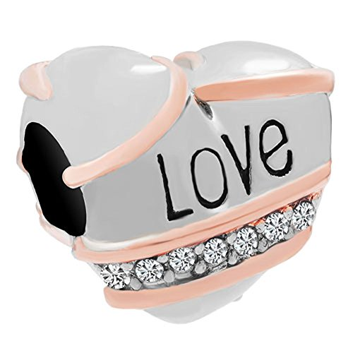 Mel Crouch Clear Crystal Rhinestone Charms Heart Love Charm Beads For Bracelets