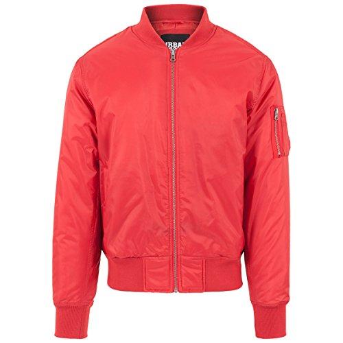 Urban Classics Shiny Bomber Jacket red - S - Mens Urban Outerwear Nylon Jacket