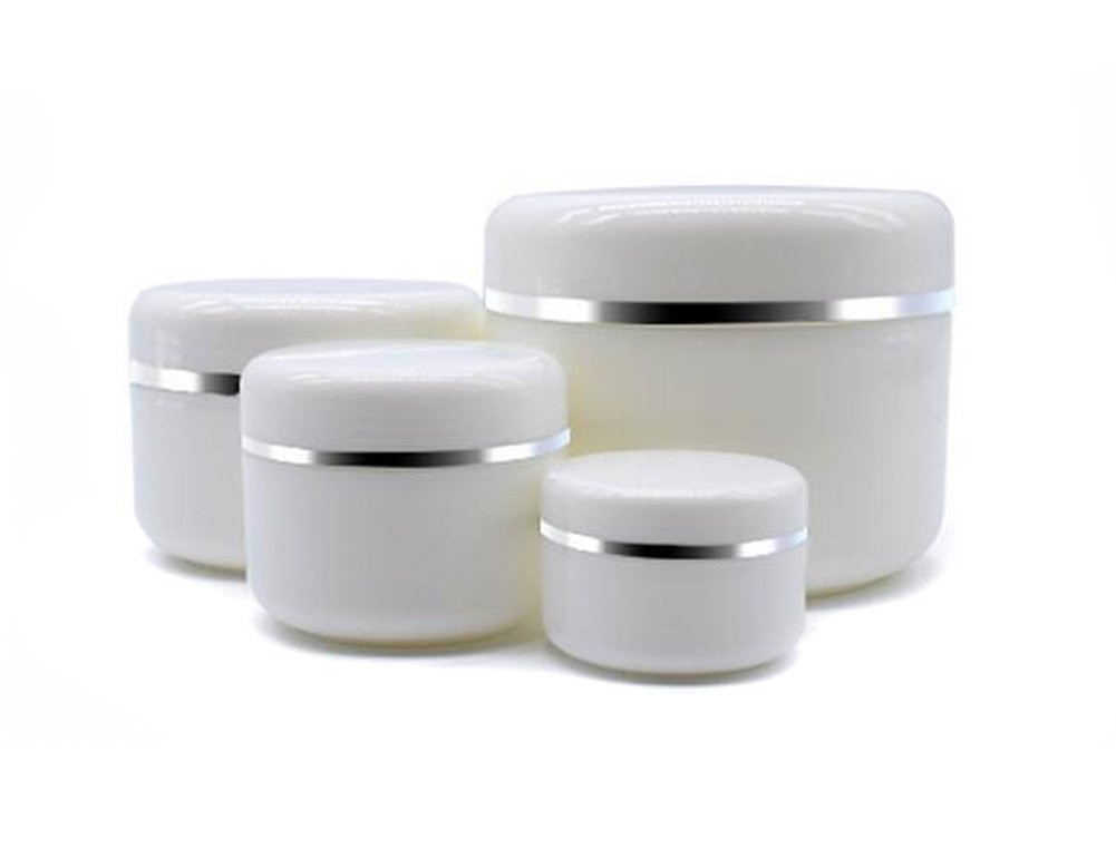 Empty White Silver Edge Portable Refillable Plastic Cosmetic Makeup Face Cream Jar Sample Container Bottle Pot 100ml 3.4oz -6PCS