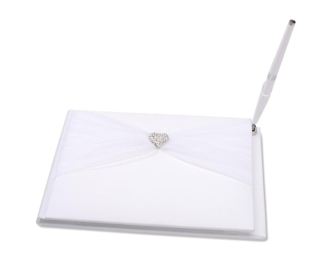 Darice VL414GB, Guest Book with Pen Rhinestone Heart Sheer, White