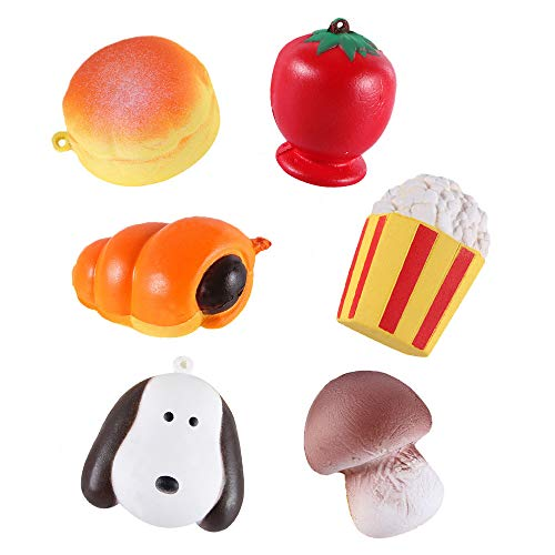 (6pcs Cute Small Food Stress Reliever Scented Super Slow Rising Squeeze Toy)