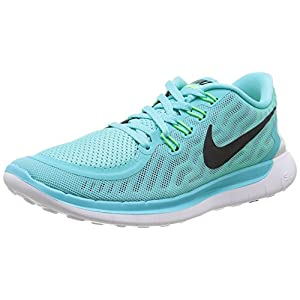 Nike Women's Free 5.0 Light Aqua/Blk/Lt Rtr/Grn Glw Running Shoe 6.5 Women US