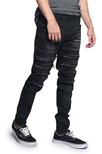 - Victorious Distressed Zipper Denim Jeans DL1177 - Black - 34/32 - A6H