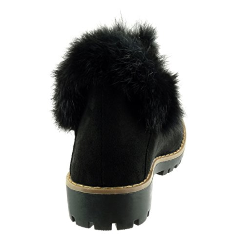 Angkorly - Women's Fashion Shoes Ankle boots - Booty - chelsea boots - fur - finish topstitching seams Block high heel 3.5 CM Black rc51w