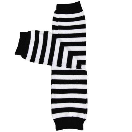 Wrapables Colorful Baby Leg Warmers - Thin Stripes Black & ()