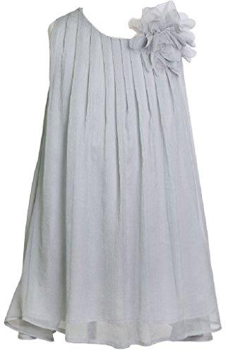 Little Girls Adorable Sleeveless Chiffon Easter Party Birthday Flower Girl Dress Silver Size 2