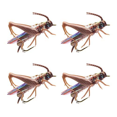 YZD Realistic Grasshopper Dry Fishing Flies Set of 4 Flies Cricket Hopper Fly Fishing Lure Trout Pike Carp Flyfishing (Large B4 Tan)