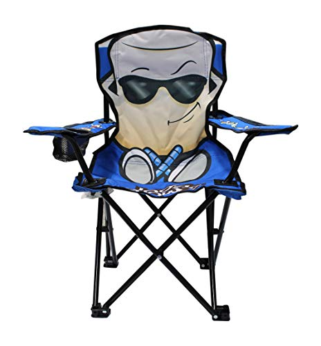 Wilcor Kids Folding Camp Chair with Cup Holder and Carry Bag – Smore, Cool Blue