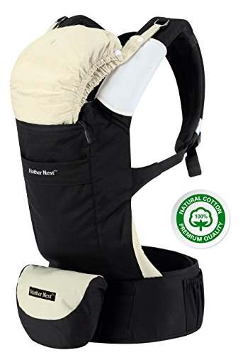 Mother Nest Baby Carrier Ergonomic for Infants & Toddlers(12-33 lbs) - Front & Back Positions - 100% Cotton Machine Washable - 4 Multifunction Pockets - 2 Soft Removable Drool Pads