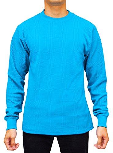 Access Men's Heavyweight Long Sleeve Thermal Crew Neck Top Aqua (Aqua Long Sleeve Shirt)