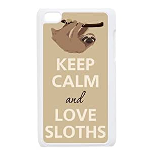 Keep calm and Love Sloths Hard Case Cover Skin for iPod Touch 4 4G 4th Generation- 1 Pack - Black/White - 6