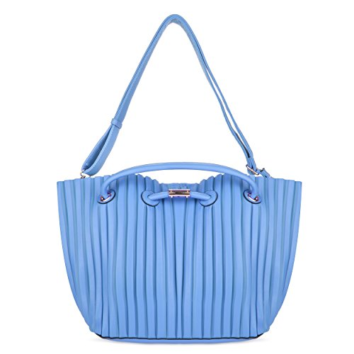 VanGoddy Cabana, Blue/Magenta Pleated PU 2-in-1 Tote Bag with Removable Organizer