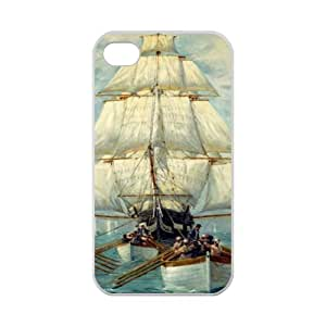 Best Slim Vintage Sailing Pirate Ship Design Case Cover for iPhone 4 4S For Impact Protection Super Fit iPhone 4 4S TPU(Laser Technology) -
