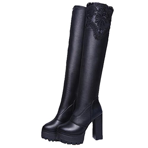 Angelliu Stivali Da Donna Col Tacco Alto Con Tacco In Pelle Nera Di Alta Moda