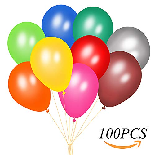 Colorful Party Balloons by GNAWRISHING 100Pcs Assorted Color Balloons Made of Strong Latex, Fill with Helium, Air or Water, Perfect for Birthday, Party, Christmas and Weddings Decorations -
