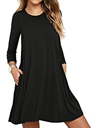 Women's Long Sleeve/Sleeveless Casual Loose Swing T-Shirt Dress