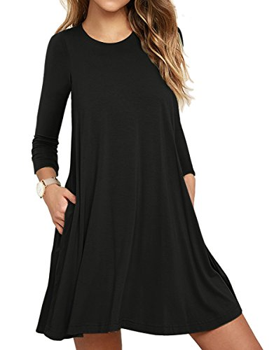 Muhadrs Women's Long Sleeve/Sleeveless Casual Loose Swing T-Shirt Dress 41GkP RSkPL