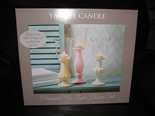 Yankee Candle 3pc Primavera Hurricane Glass Tea Light Holder Set by Yankee Candle