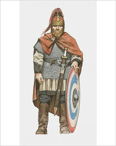 Media Storehouse 10x8 Print of Illustration of Visigoth with sword and shield (Barbarian Costume History)