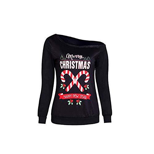 Tricot manches la T Imprimé à Imprimé Noël Noir Pull longues shirt Vêtements pour Femme famille ZOYqwHn