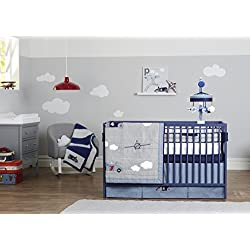 Retro Ride Boy's 3 piece crib Bedding Set, racing cars, planes