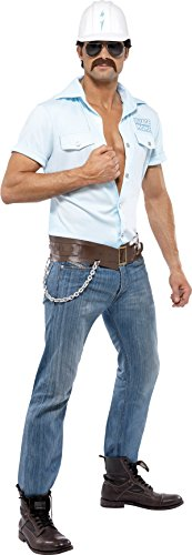 Smiffy's Men's Village People Construction Worker Costume, Shirt, Hat, Belt &