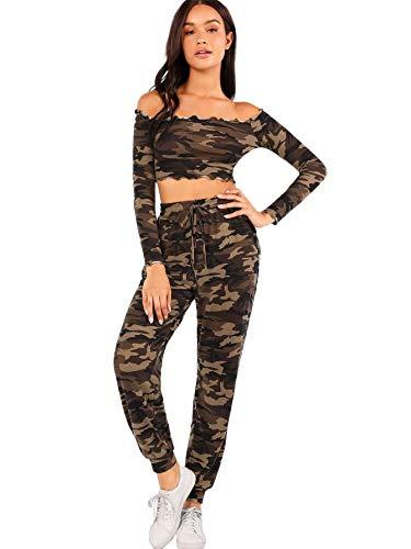 SweatyRocks Women's 2 Pieces Outfits Off Shoulder Crop Top S