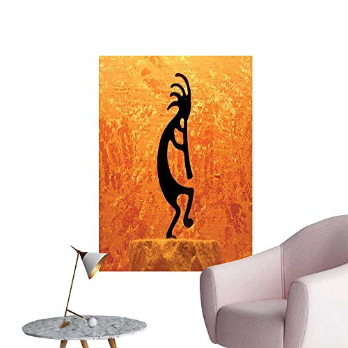 (Wall Stickers for Living Room Kokopelli Southw Tern Style Native American Belief Picture Orange Vinyl Wall Stickers Print,32