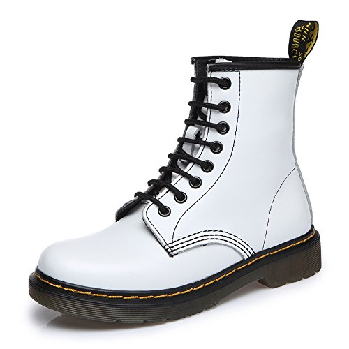 fereshte Women#039s Leather Motorcycle Combat Boots Fashion Martins Boots Laceup Flat Ankle Bootie White US 75