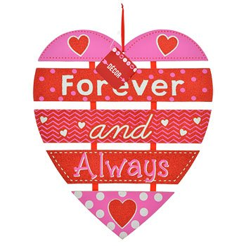 Heart Shaped Valentine Message Hanging Hearts Wall Decorations (Forever and Always)