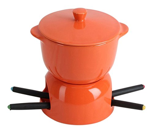 Omniware 1037745 Chocolate Fondue with Lid, Orange