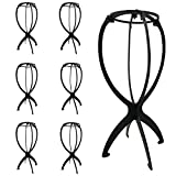 6 Pack Wig Stand Holder Portable Wig Display Head Foldable Wig Holder Stable Wig Dryer Rack Hat Display Stand, Black