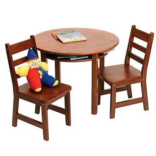Lipper International 524C Child's Round Table with Shelf and 2 Chairs, Cherry Finish