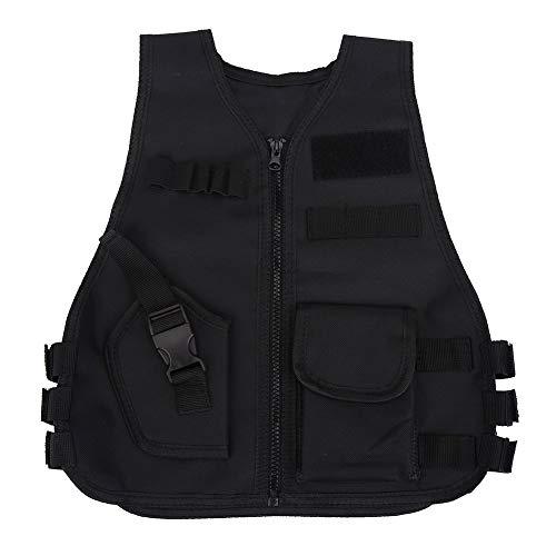 Thur amo Kids Tactical Vest Breathable Adjustable Waistcoat Outdoor Hunting Combat Games (Black-S)