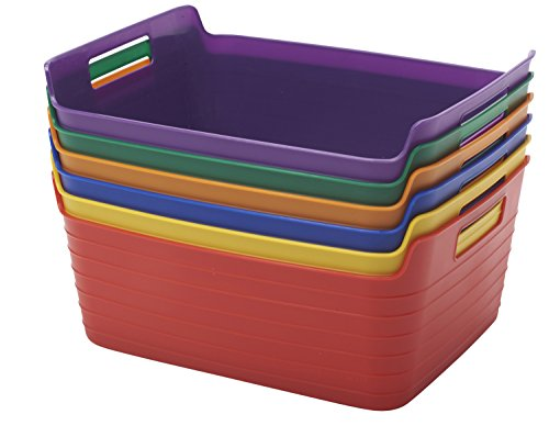 ECR4Kids Assorted Large Bendi-Bins with Handles, Stackable Plastic Storage Bins for Toys and More, Assorted Colors (12 Assorted Bins)