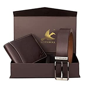 HORNBULL Men's Leather Wallet and Belt Combo(BW4595_Brown) 1