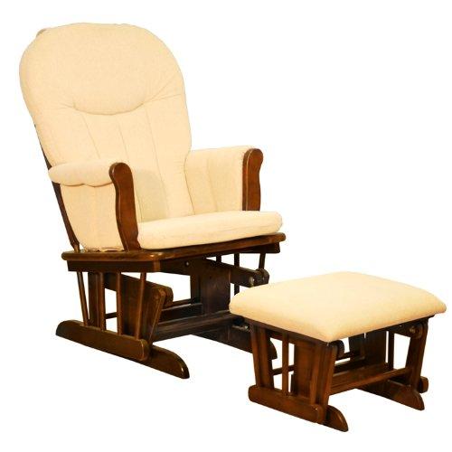 Athena Deluxe Glider Chair w Ottoman in Espresso Finish