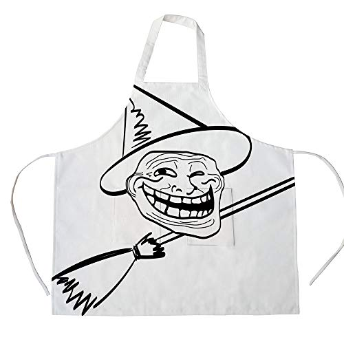 iPrint Cotton Linen Apron,Two Side Pocket,Humor Decor,Halloween Spirit Themed Witch Guy Meme LOL Joy Spooky Avatar Artful Image,Black White,for Cooking Baking Gardening -