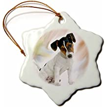 3drose Jack Russell Terrier Snowflake Porcelain Ornament, 3-Inch
