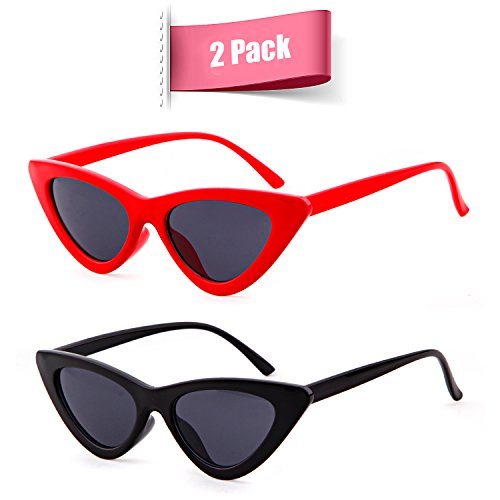 Clout Goggles Cat Eye Sunglasses Vintage Mod Style Retro Kurt Cobain Sunglasses (Black&Red(2 packs), - Cat Eye Slim Sunglasses
