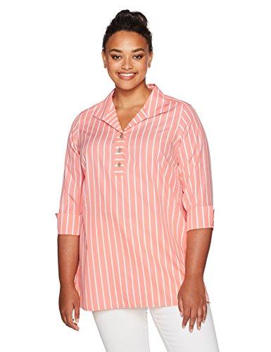 Foxcroft Women's Plus Size Dani Wide Stripe Non Iron Tunic, Sunset Coral, 18W