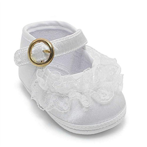 OOSAKU Baby Girl Christening Baptism Infant Lace Shoes Slipper (0-6 Months) White