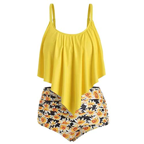 (Snowlily Bathing Suits,Women Two Pieces Bathing Suits Top Ruffled with High Waisted Bottom Bikini Set Yellow)